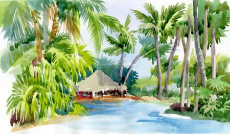 Tropical palm trees and hut