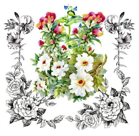 Garden floral frame pattern