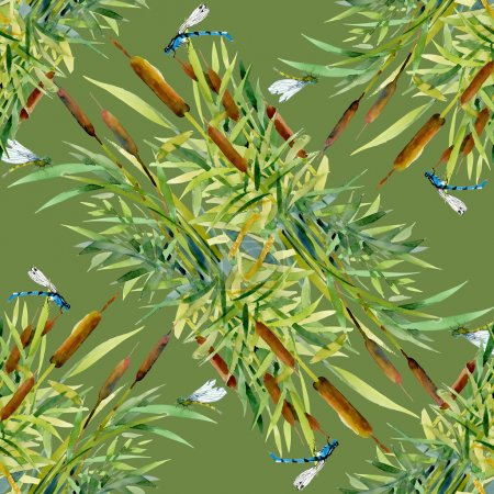 Reed and dragonflies texture