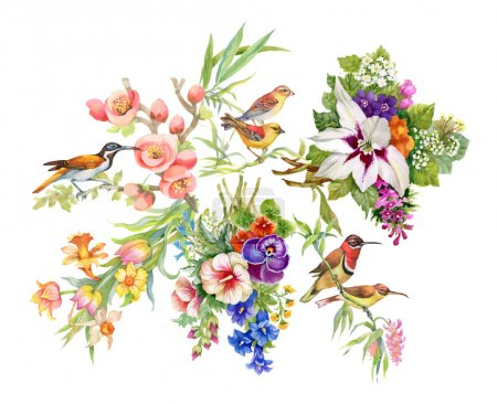 Wild birds and flowers