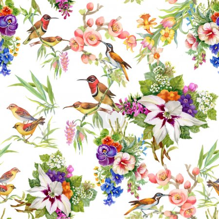 Photo for Wild birds and flowers seamless pattern - Royalty Free Image