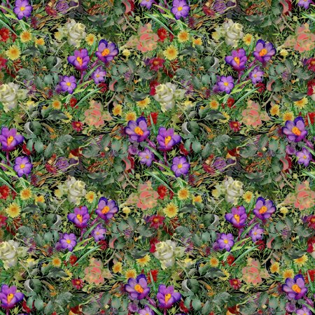 Summer garden flowers pattern