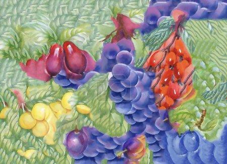 Watercolor berries seamless