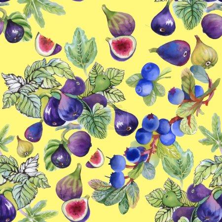 Photo pour Aquarelle fruits mûrs figue fond de motif sans couture - image libre de droit