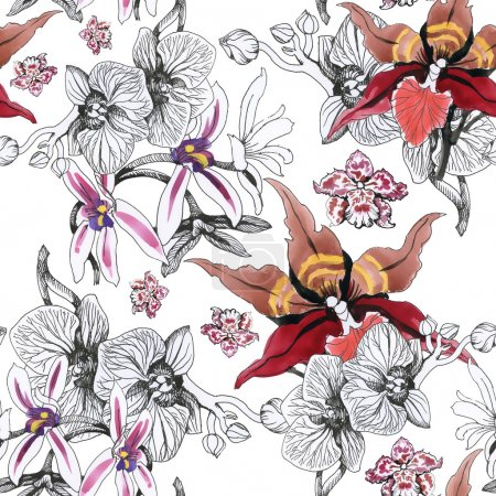 Photo for Seamless floral pattern background with blooming orchid flowers - Royalty Free Image