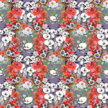 Photo for Floral colorful spring calla flowers seamless pattern - Royalty Free Image