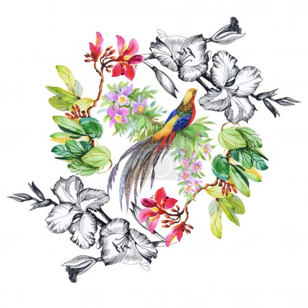tropical  bird and exotic flowers