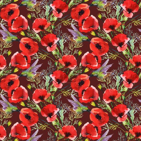 Red poppies with birds