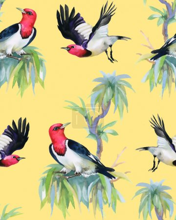 tropical birds on tree branches