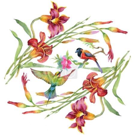 Photo pour Prairie avec des fleurs et des oiseaux. motif floral aquarelle - image libre de droit