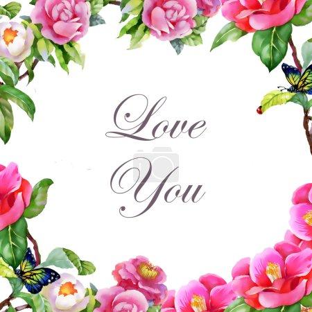 Photo pour Jardin cadre floral fond avec des papillons et je t'aime inscription - image libre de droit