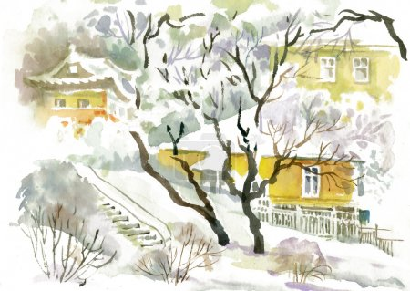 Photo for Watercolor winter landscape with snowy houses illustration - Royalty Free Image