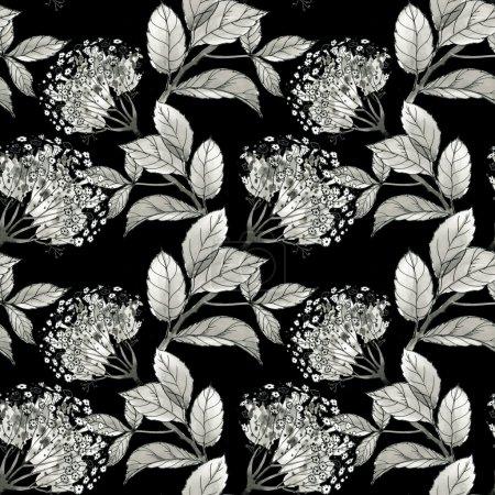 Photo pour Jardin d'été fleurs monochromes et feuilles motif sans couture - image libre de droit