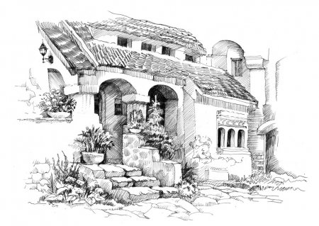 tropical resort illustration