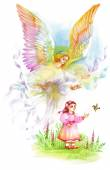 Beautiful Angel with Wings Flying over Child Watercolor Illustration