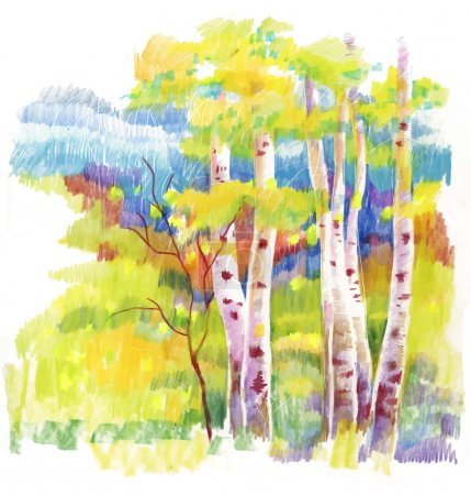 Illustration for Autumn forest felt-tip pen illustration - Royalty Free Image