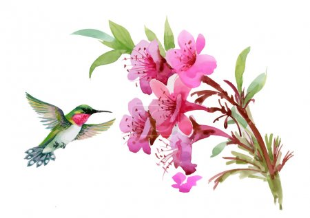 Watercolor wild exotic birds on flowers and twigs pattern on white background