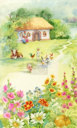 Illustration for Watercolor countryside landscape with little boy feeding farm animals - Royalty Free Image