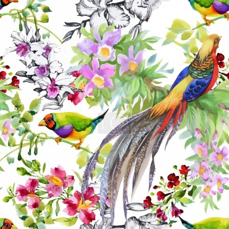 Illustration for Watercolor hand drawn seamless pattern with summer flowers and exotic birds - Royalty Free Image