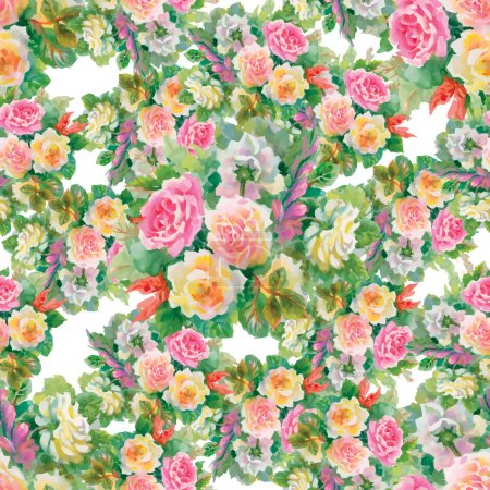 Illustration for Seamless floral pattern with watercolor roses  flowers - Royalty Free Image
