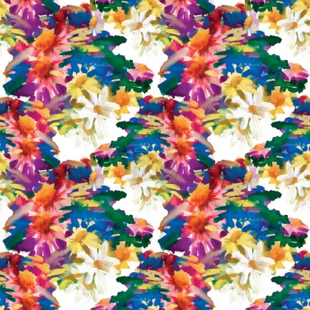 Illustration for Summer meadow flowers seamless pattern background - Royalty Free Image