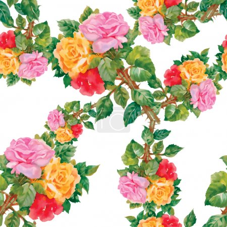 garden pattern with roses flowers