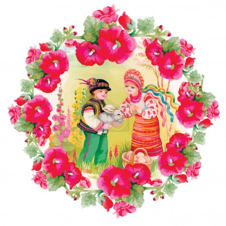 Illustration for Floral illustration with Young girl and boy in traditional folk costumes - Royalty Free Image