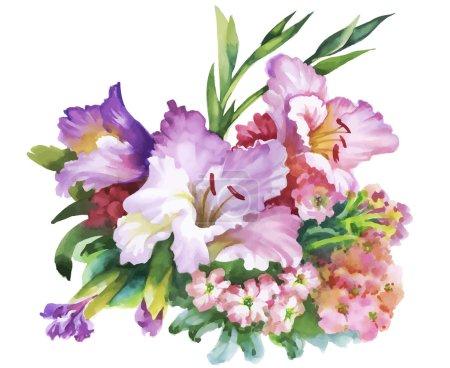 Illustration pour Fleurs aquarelle dans un style classique sur un fond blanc - image libre de droit
