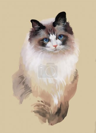 Watercolor portrait of cat illustration vector