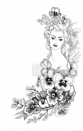 Illustration, représentant un portrait de belle jeune femme avec des fleurs