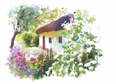 Illustration for Watercolor rural village in green summer day illustration - Royalty Free Image