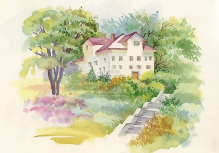 Illustration for Watercolor painting of house in woods illustration - Royalty Free Image