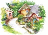 Watercolor rural village in green summer day illustration