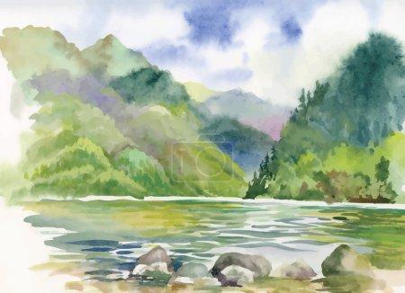 Illustration for Watercolor summer river landscape vector - Royalty Free Image