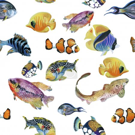 Marine life watercolor seamless pattern with Tropical fish