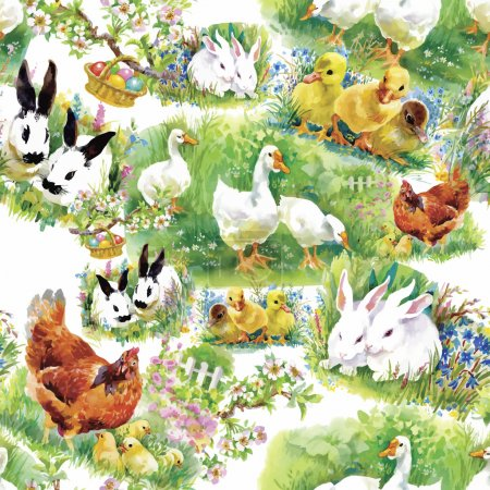 Illustration for Little fluffy cute watercolor ducklings, chickens and hares with eggs seamless pattern on white background vector illustration - Royalty Free Image