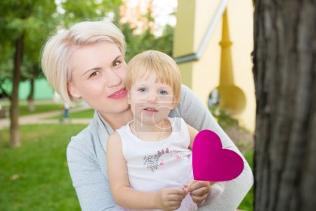 Photo for Portrait of beautiful mother and kid girl - Royalty Free Image