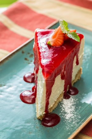 Dessert - Cheesecake with Berries Sauce and Green ...