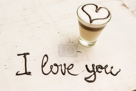 Love coffee cup and handwriting. I love you. Creative