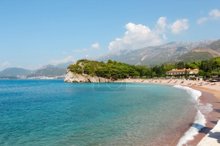 Beach near the island Sveti Stefan.