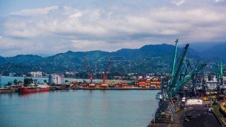 Industrial ship in Batumi port at dusk. Georgia