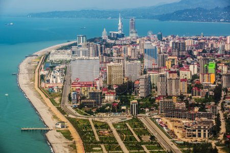 Aerial view of  city on Black Sea coast, Batumi, Georgia.