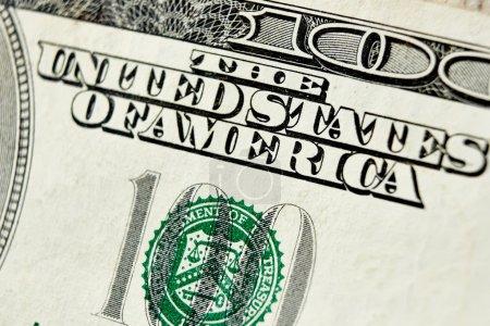 Photo for Macro close up of the US 100 dollar bill. Extreme macro. Shallow dof - Royalty Free Image