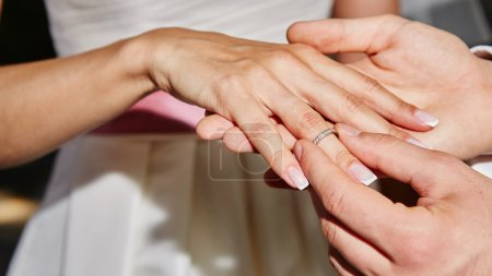 groom puts ring on the finger of bride