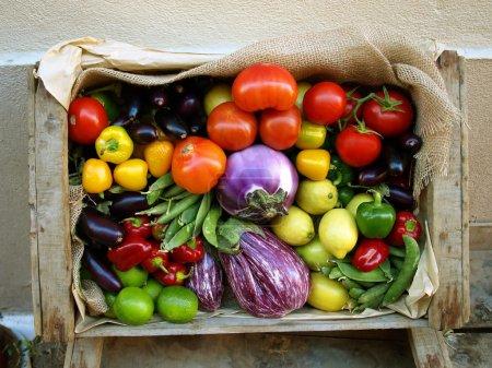 Photo pour Récolte de légumes et fruits biologiques frais et mûrs dans une boîte en bois . - image libre de droit
