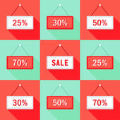 Sale and percent Sign Icons Set