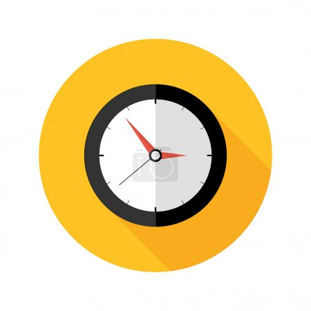 Illustration for Illustration of Deadline Clock Flat Circle Icon - Royalty Free Image