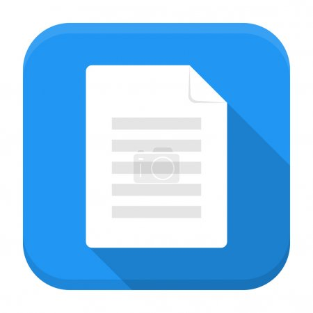 Illustration for Vector illustration of document icon. Flat app square icon with long shadow. - Royalty Free Image