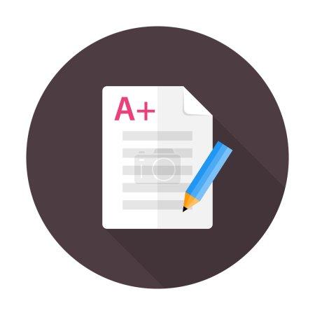 Exam preparation flat circle icon