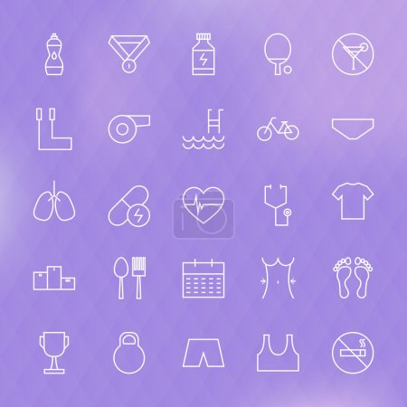 Sport and Healthy Lifestyle Line Icons Set